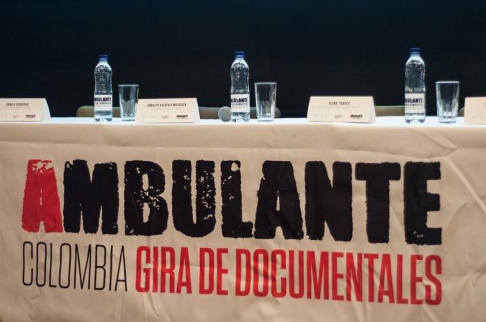 Durante el lanzamiento del festival de cine documental, Ambulante en Cine en Tonalá.